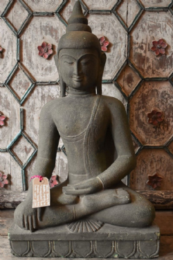 Carved Granite Buddha, South India in the Bhumisparsha Hand Position ( grounded, enlightenment)